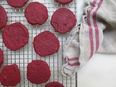 red velvet wafer cookies for a red velvet icebox cake with cinnamon cream cheese whipped cream from the cookbook, icebox cakes!!