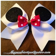 "Cheer bow of the day. by @magicalbowtique ""#mickey #mickeybows #magicalbowtique…"