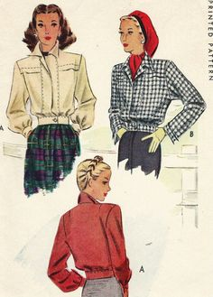 Vintage 40s McCalls Sewing Pattern 6360 Womens by CloesCloset