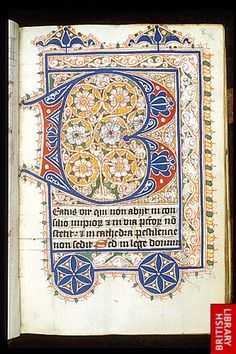 Egerton 3271 f. 8 Puzzle initial Flourished puzzle initial 'B'(eatus), at the beginning of the Breviary. Origin: Netherlands, N. Medieval Books, Medieval Manuscript, Medieval Art, Renaissance Art, Book Of Kells, Illuminated Letters, Illuminated Manuscript, Illumination Art, Calligraphy Letters