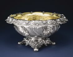 silver Chrysanthemum pattern punch bowl, Tiffany & Co., New York, circa 1882, diameter 20 1/2 in.