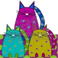 Shower Curtains CafePress : Whimsical cats in bold and bright colors on bathmats, area rugs and more. Fun home decor for any cat lover. I Love Cats, Cool Cats, Maurice Careme, Cat Colors, Bright Colors, Cat Quilt, Illustration Art, Illustrations, Animal Quilts