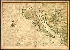 Mapa antiguo (aprox. 1650) que representa a la península de California como una isla.