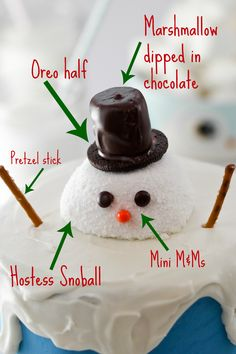 Melting Snowman Cake Photo... easy method for a cute Christmas time cake!