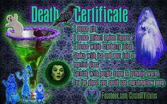 Death Certificate. Disney theme drinks.