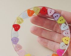 Resin Button Bangle Primary Colors Heart Buttons by JustKJewellery, £15.00