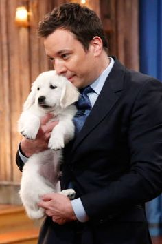 Jimmy Fallon - Hot Guys Holding Tiny Puppies - Elle