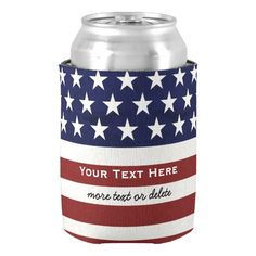 American USA Flag Patriotic July 4th Custom Can Cooler #koozies