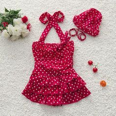 Little Girls Red Polka Dot Retro-Style Ruffle Skirted One-Piece Swimsuit w/Matching Cap 2T-5