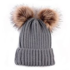 Chunky Knit Hat With Double Faux Fur Removable Pom Poms Beanie (75 PEN) ❤ liked on Polyvore featuring accessories, hats, faux fur beanie hat, beanie caps, fake fur hats, thick knit hat and pom pom beanie