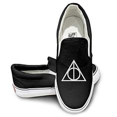 5c4c769cc2d1 MGTER66 Harry Potter And The Deathly Hallows Fashion Slip On Shoes Unisex  Style Color Black