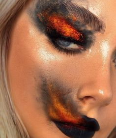 Fire Makeup, Makeup Eye Looks, Eye Makeup Art, Crazy Makeup, Goth Eye Makeup, Gothic Makeup, Eye Art, Makeup Eyes, Make Up Designs