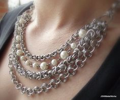 Multistrand Chainmaille Necklace Aluminum by JSWMetalWorks on Etsy