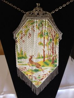 Mandalian Enameled Mesh Purse DEER In FOREST Near Mint Very Rare #Mandalian #EveningBag