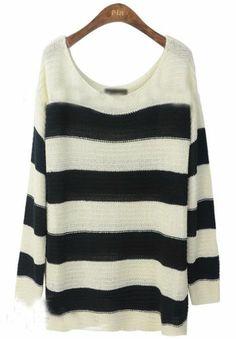 Black + White Striped Sweater