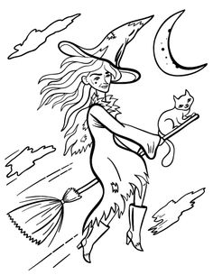 printable witch coloring page free pdf download at httpcoloringcafecom