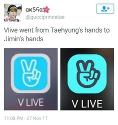 Vlive logo - From Taehyung's hand to Jimin's hand