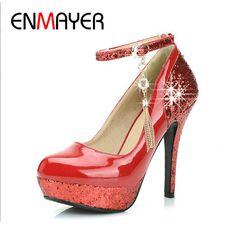ENMAYER Black White Red Shoes Women New Fashion Women Strap High Heels Mary Jane Platform Pumps Wedding Shoes for Women Big Size
