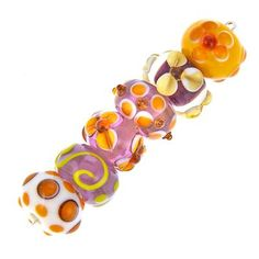 13mm Purple, Yellow, and White Rondelle Lampwork Set
