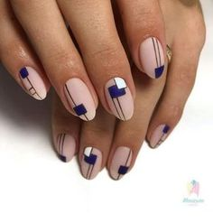 The advantage of the gel is that it allows you to enjoy your French manicure for a long time. There are four different ways to make a French manicure on gel nails. Mens Nails, Nailart, Geometric Nail, Manicure E Pedicure, Minimalist Nails, Creative Nails, Almond Nails, Perfect Nails, Blue Nails
