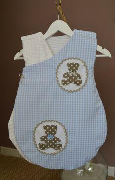 Gigoteuse / turbulette japonisante d'été bébé fille ou garçon, nid d'abeille blanc, coton vichy bleu et oursons taupe : Mode Bébé par zinzoline29