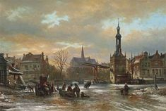 By Elias Pieter van Bommel Figures skating on the ice with the St. Bavo church in the background, Haarlem,1882