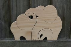 Large Elephant Puzzle. Wooden Animal Puzzle. von SugarBeanStitching
