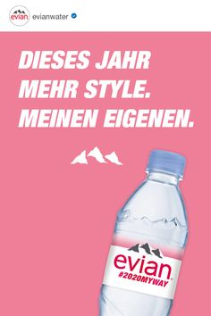 evian natural mineral water originates from rain and snow deposited on the catchment area, a millennia-old site in the heart of the French Alps surrounded by mountains and glaciers. Natural Mineral Water, Water Bottle, Quotes, Food, Drawings, Love, Quotations, Essen, Eten