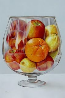 """Copa II"" - Carlos Bruscianelli {contemporary realism art fruit bowl still life painting Hyperrealistic Art, Hyper Realistic Paintings, Fruit Painting, Color Pencil Art, Food Drawing, Still Life Art, Photorealism, Fruit Art, Realism Art"