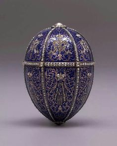 1896. Imperial Fabergé Egg No. 14, the Alexander III Portraits Egg or Twelve Monograms Egg. Emperor Nicholas II to Dowager Empress Maria Feodorovna.