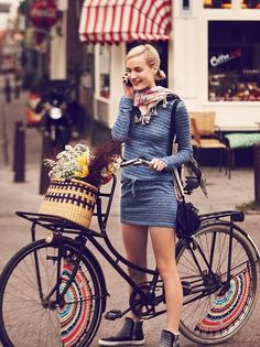 Blue dress with bike