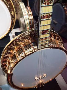 Ornate tenor banjo on display at The American Banjo Museum - photo by Gerald… My Better Half, Bluegrass Music, Banjos, Mandolin, Gumbo, Guitars, I Am Awesome, Museum, Display