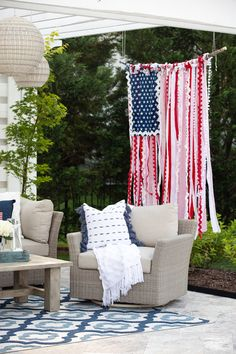 """How to Make a Whimsical """"Rag Flag"""" — Jenny Reimold Fourth Of July Decor, 4th Of July Celebration, 4th Of July Decorations, 4th Of July Party, July 4th, Patriotic Crafts, July Crafts, Summer Crafts, Holiday Crafts"""