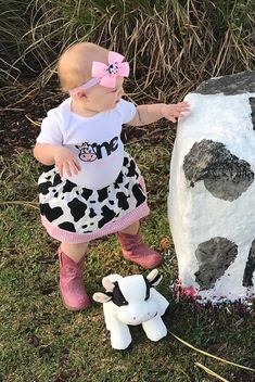 First Birthday Outfit in Cow print and Pink Gingham - barnyard birthday outfit, farm animal birthday 1st Birthday Onesie, Cow Birthday, First Birthday Themes, Farm Animal Birthday, Cowgirl Birthday, Baby Girl 1st Birthday, First Birthday Outfits, First Birthdays, Birthday Ideas