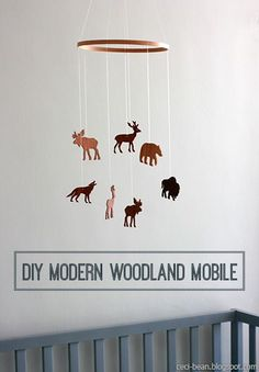 Baby DIY Modern Woodland Mobile - a super easy nursery decor project that your baby will love! Baby Boy Rooms, Baby Boy Nurseries, Baby Room, Rustic Baby Nurseries, Do It Yourself Design, Do It Yourself Inspiration, Woodland Mobile, Woodland Baby, Woodland Nursery Boy