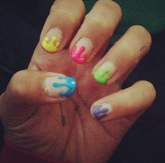 Paint dripping nail design