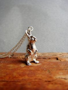 Bunny Charm Necklace Bunny Necklace Rabbit Necklace by Nafsika, $60.00