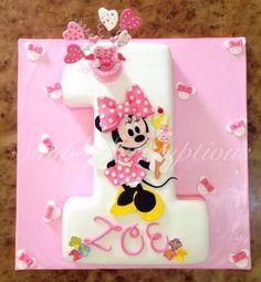 Minnie Mouse No 1 Cake - cake by SimplyScrumptious - CakesDecor Minnie Mouse Birthday Cakes, Custom Birthday Cakes, 1st Birthday Cakes, Mickey Mouse Cake, Minnie Mouse Cake, Birthday Celebration, Bolo Mickey, Disney Cakes, Girl Cakes