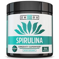 Non-GMO Spirulina Powder - Sustainably Grown in California - Highest Quality Spirulina on Earth - Vegetarian, Gluten Free & Non-Irradiated - Blue Green Algae Perfect for Smoothies, Juices & More from Zhou Nutrition - Quick and Natural Ways To Lose We What Is Spirulina, Spirulina Recipes, Spirulina Powder, Smoothie Packs, Smoothie Recipes, Green Algae, Wheat Grass, Healthy Nutrition, Healthy Junk