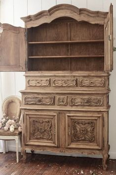 Raw Finish Antique Cupboard Reveal - French Country Cottage Small Cupboard, Antique Cupboard, Cupboard Doors, Antique China Cabinets, Cottage Christmas, French Country Cottage, Raw Wood, Wood Cabinets, Decor Styles