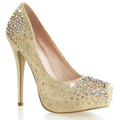 Womens Stunning Gold Glitter Pumps 6'' High Heel Dress Shoes with Rhinestones *** Check out this great product.