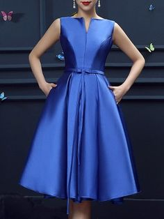 Blue Bowknot Waist Lacing Back Sleeveless Midi Prom Dress Unique Prom Dresses, Modest Dresses, Satin Dresses, Elegant Dresses, Blue Dresses, Beautiful Dresses, Casual Dresses, Vintage Dresses, Short Dresses