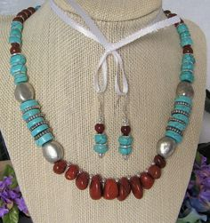 Red Jasper nuggets and Turquoise pebble necklace. by uniquebysuzy