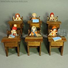Antique dolls house school furnishings  , Hertwig all bisque doll , Antique Dollhouse miniature