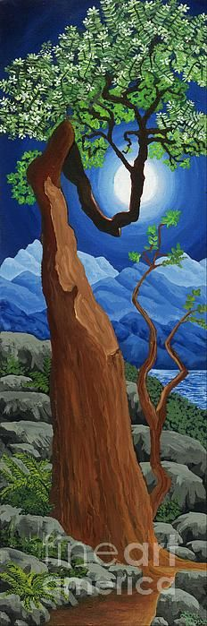 Original acrylic painting of an arbutus tree in the moonlight by the ocean by Lori Morris