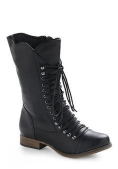Faux leather black vegan boots lace-up calf-high $50