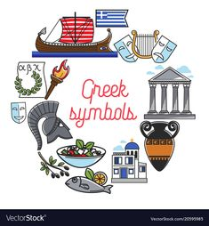 Greece famous sightseeing symbols and culture landmarks icons for greek travel travel poster Greece Drawing, Greece Girl, World Thinking Day, Girl Scout Troop, Bullet Journal Art, Greek Art, Leather Flowers, Ancient Greece, Illustrations