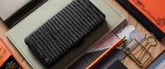 Ready to Ship Custom Handmade Black Lizard Pattern Leather Book Style Leather Wallet Case for Apple iPhone 6 Plus / 6s Plus