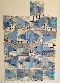 Lynne Tyler contemplates what to do with some odd blocks. The Patchery Menagerie: Fish, or Cut Bait Scrappy Quilts, Mini Quilts, Quilt Inspiration, Crumb Quilt, Black And White Quilts, Quilt Modernen, String Quilts, Contemporary Quilts, Diamond Quilt