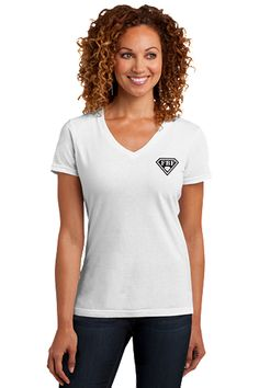 FBF Ladies V-Neck with Shield Logo Left Chest - White